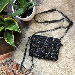 Rebecca Minkoff Black Glitter Crossbody Purse
